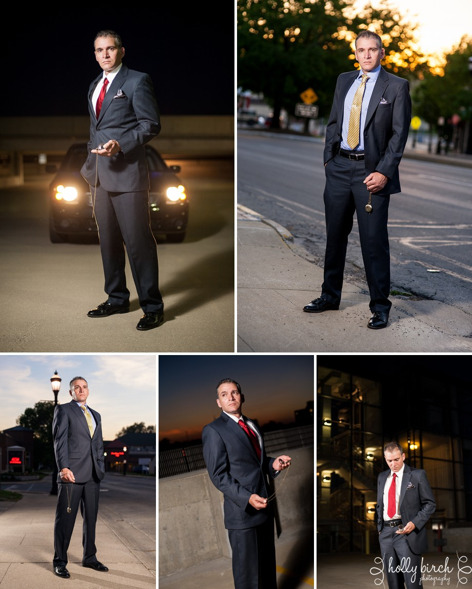 lighting, dusk, sunset, headlights, suit, pocket watch, conceptual, personal project