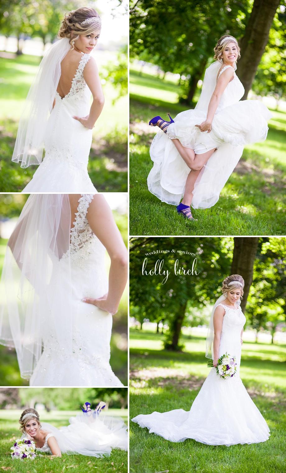 bridal portraits purple shoes