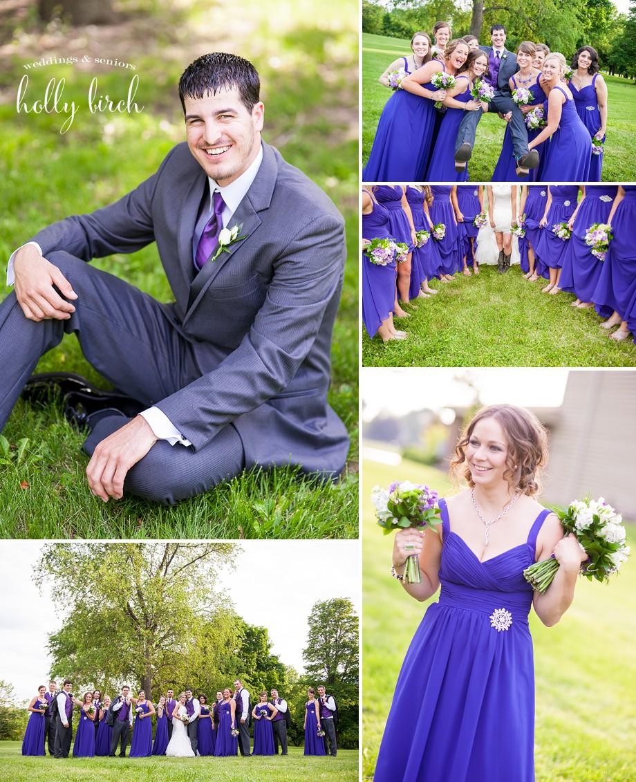 groom purple gray wedding party