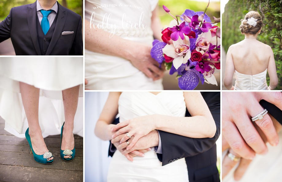 Monticello Allerton wedding details bouquet shoes tie rings