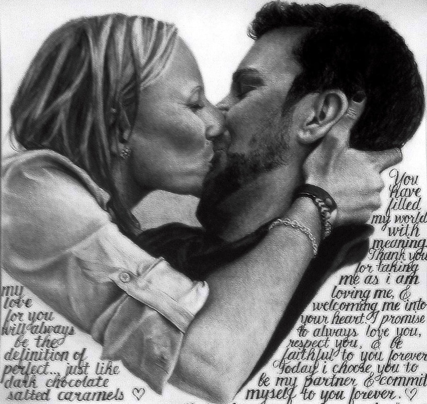 charcoal proposal drawing with words