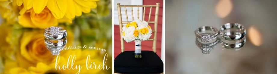 yellow white wedding flowers and rings