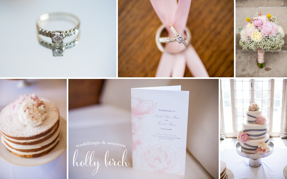 pink gray wedding details invitation rings cake