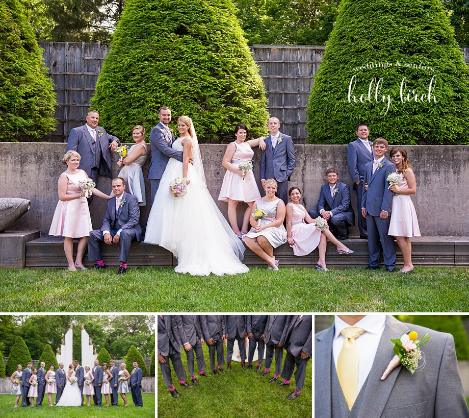 pink gray wedding party
