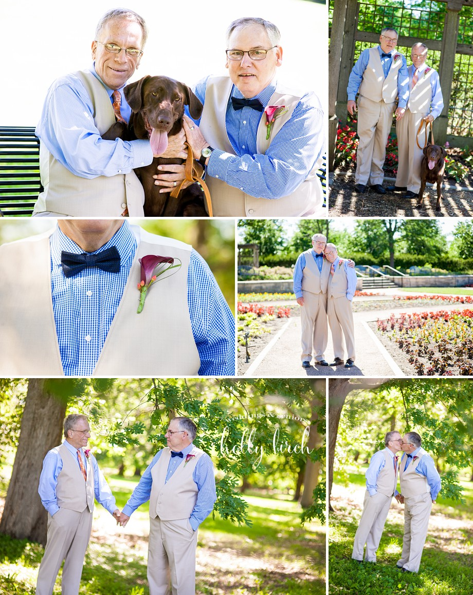 wedding photos with chocolate lab dog