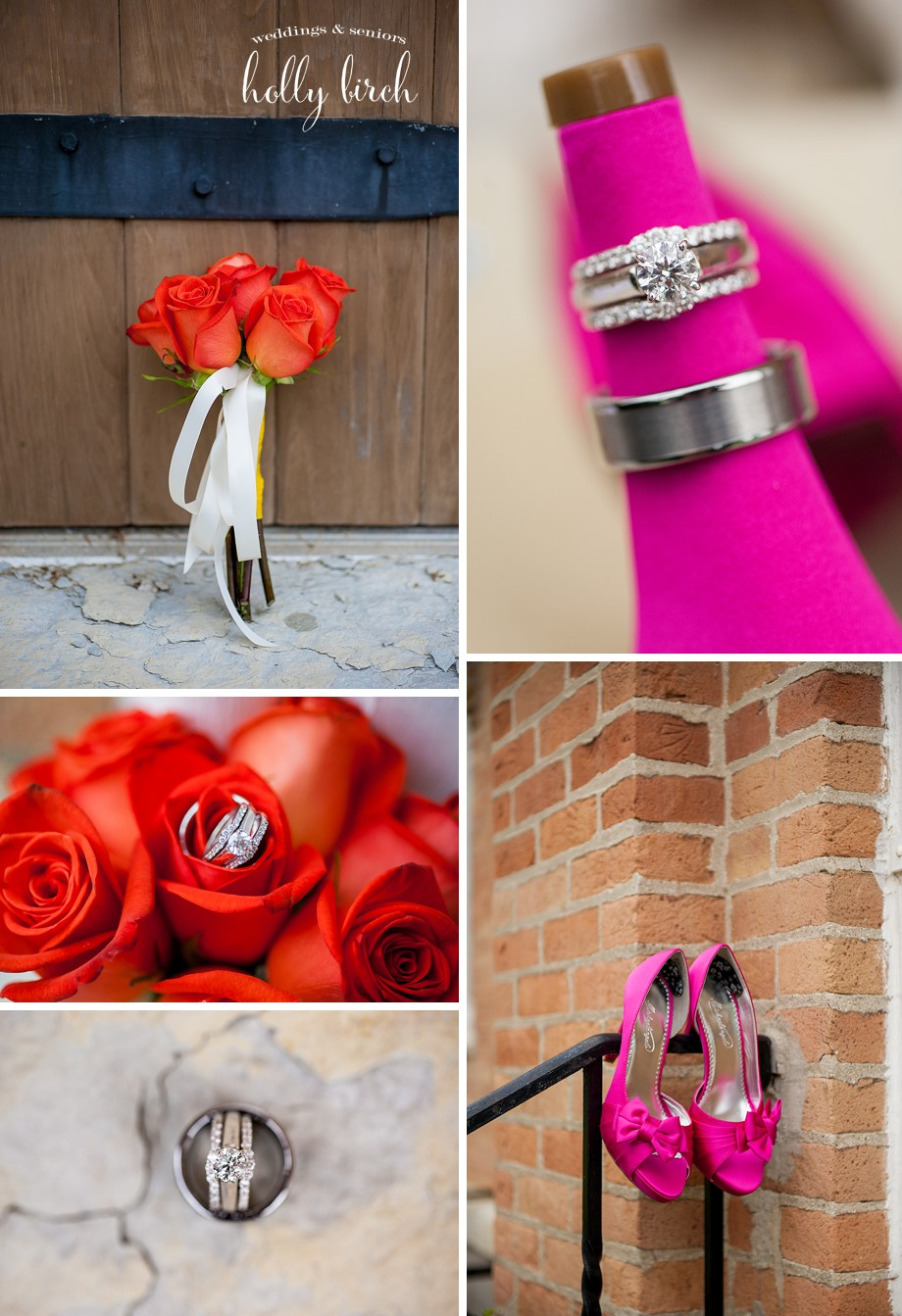 hot pink heels orange roses wedding details