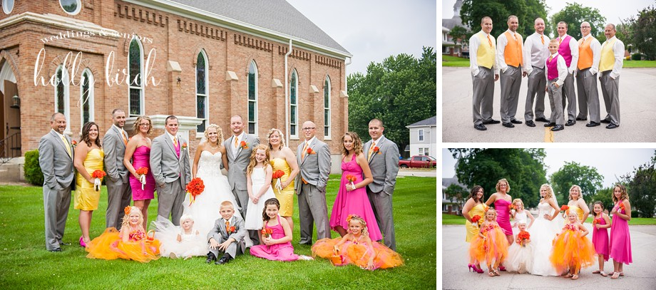 Yellow orange hot pink wedding party with brick church