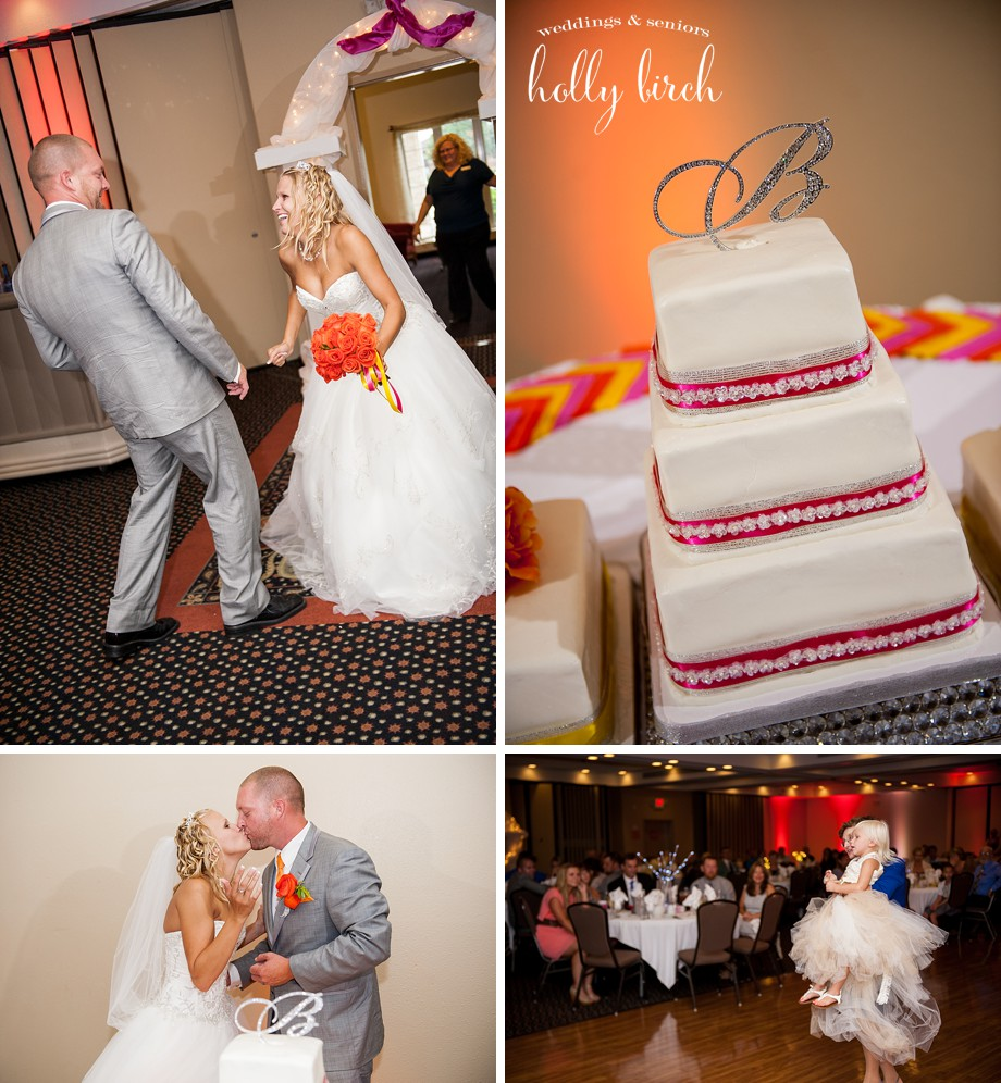hot pink orange wedding reception cake