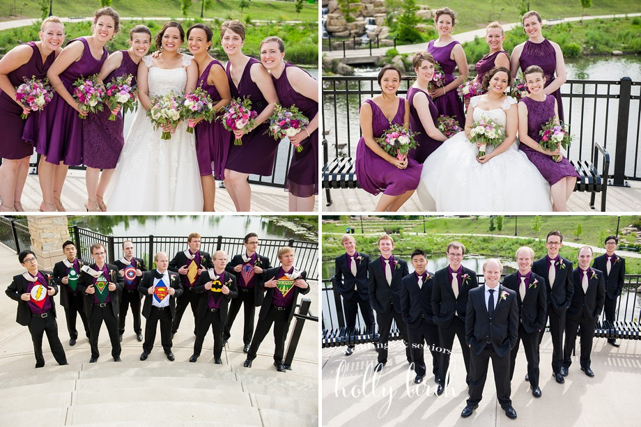 purple wedding party superhero groomsmen