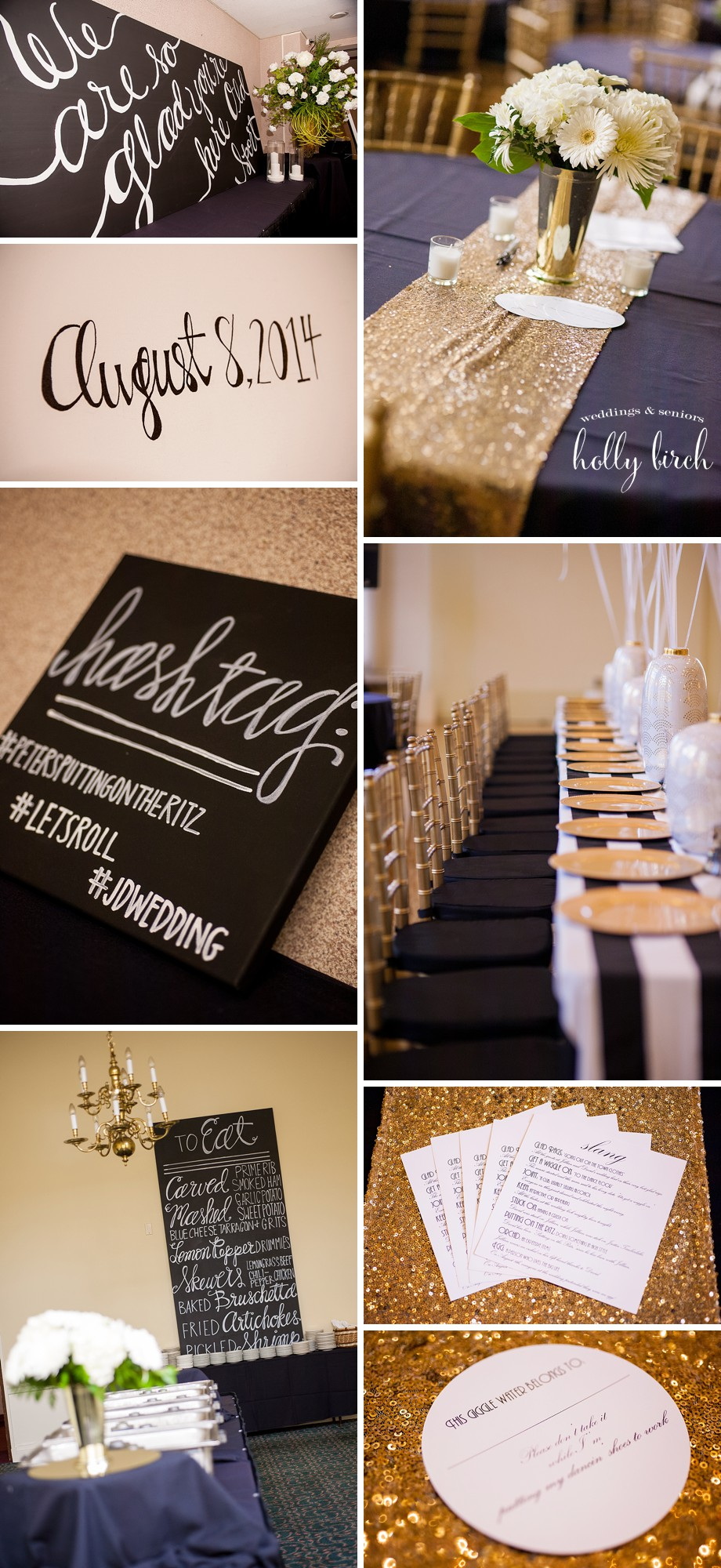 black white gold wedding details Decatur Club