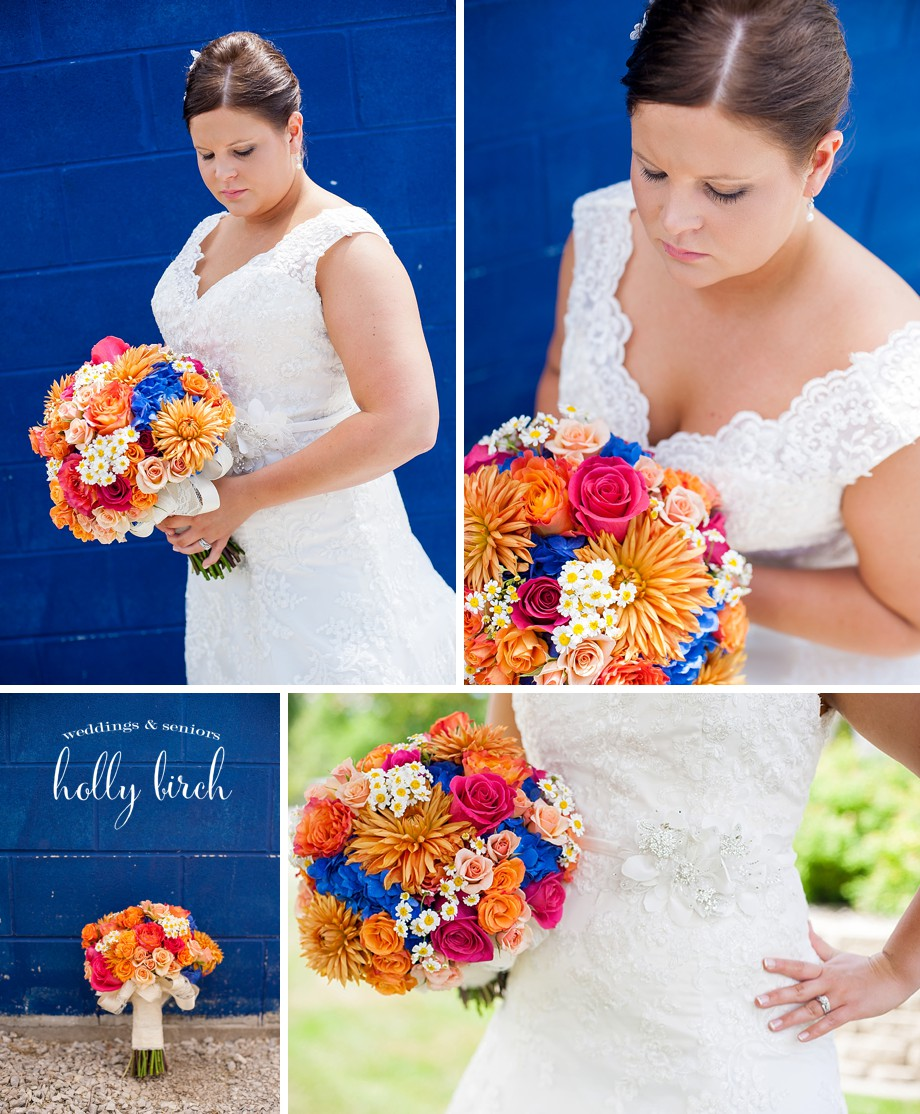 blue orange pink wedding bouquet