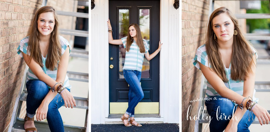 downtown Mahomet doorways senior session