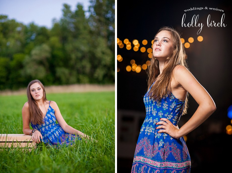 blue dress senior photography