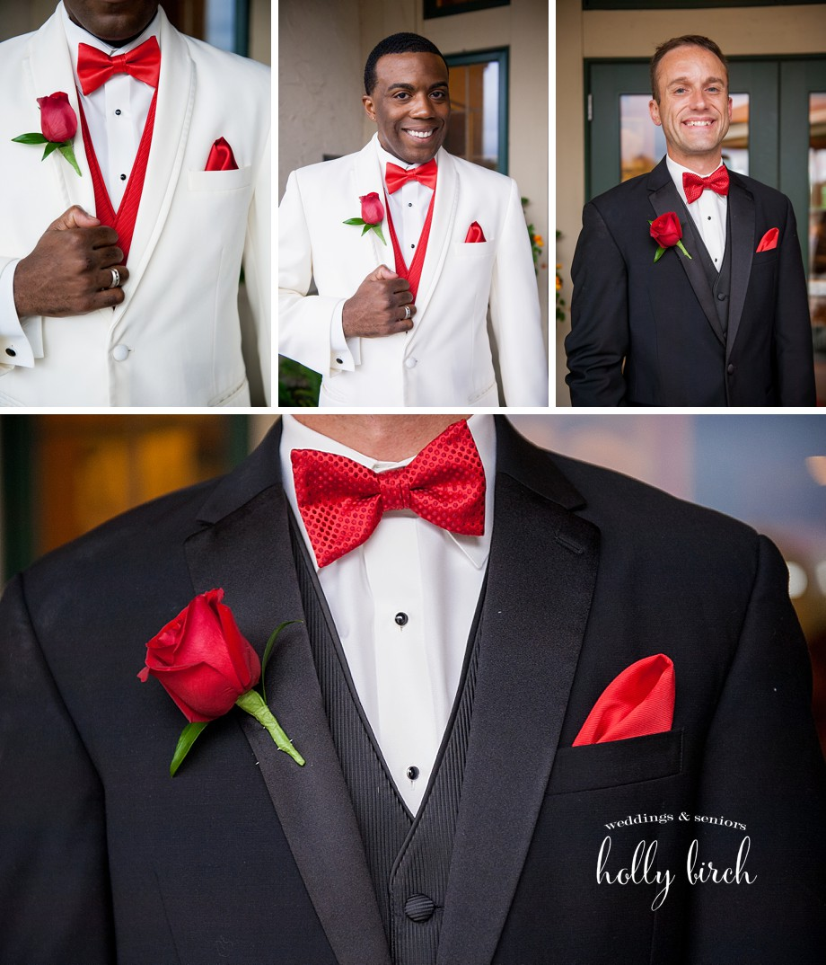 black white wedding tuxes