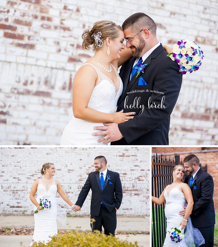 white brick wall wedding portraits