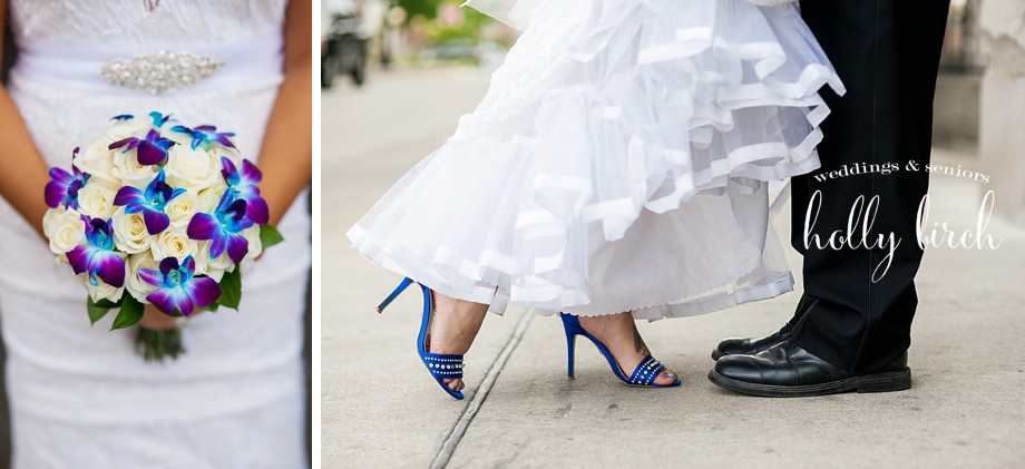 royal blue shoes and wedding bouquet