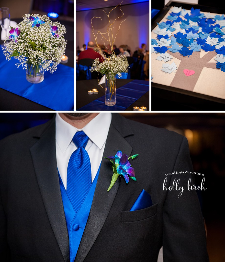 black and blue wedding reception details
