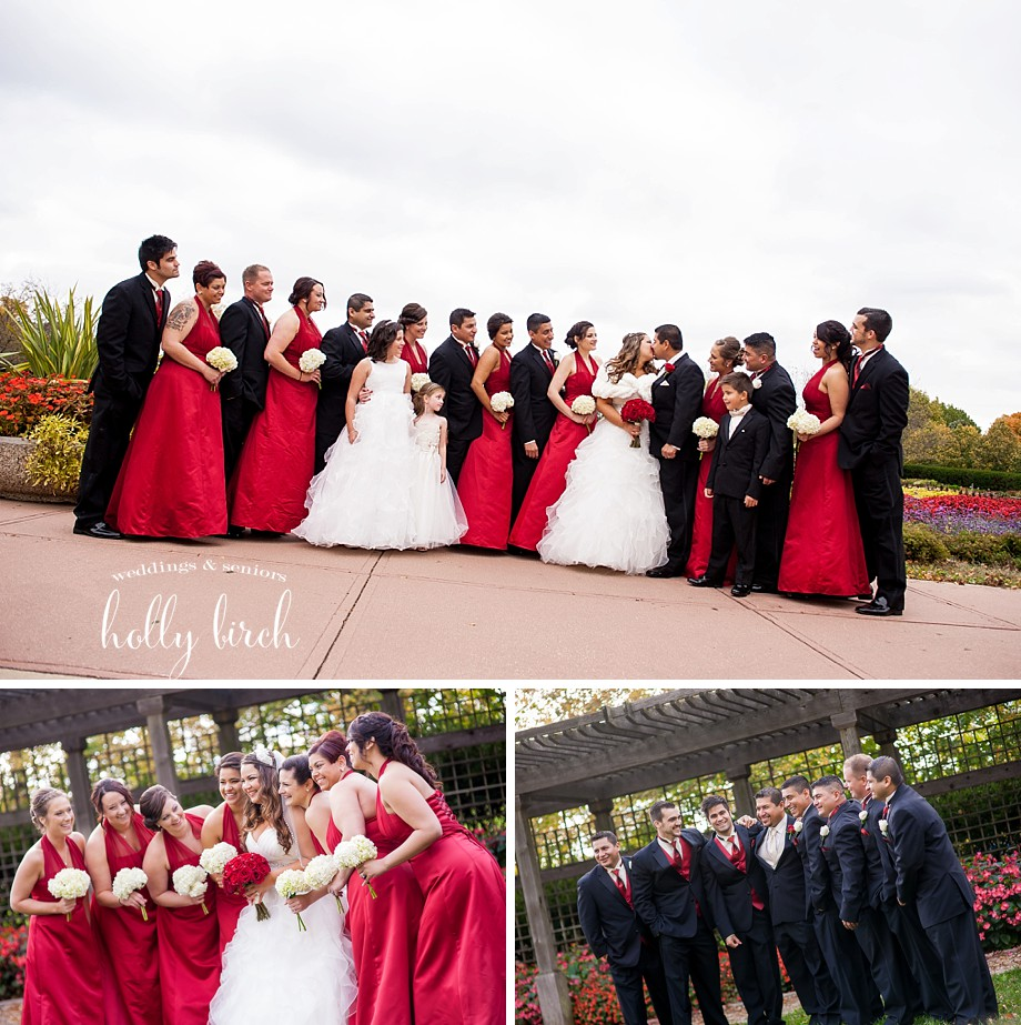 red and black wedding party