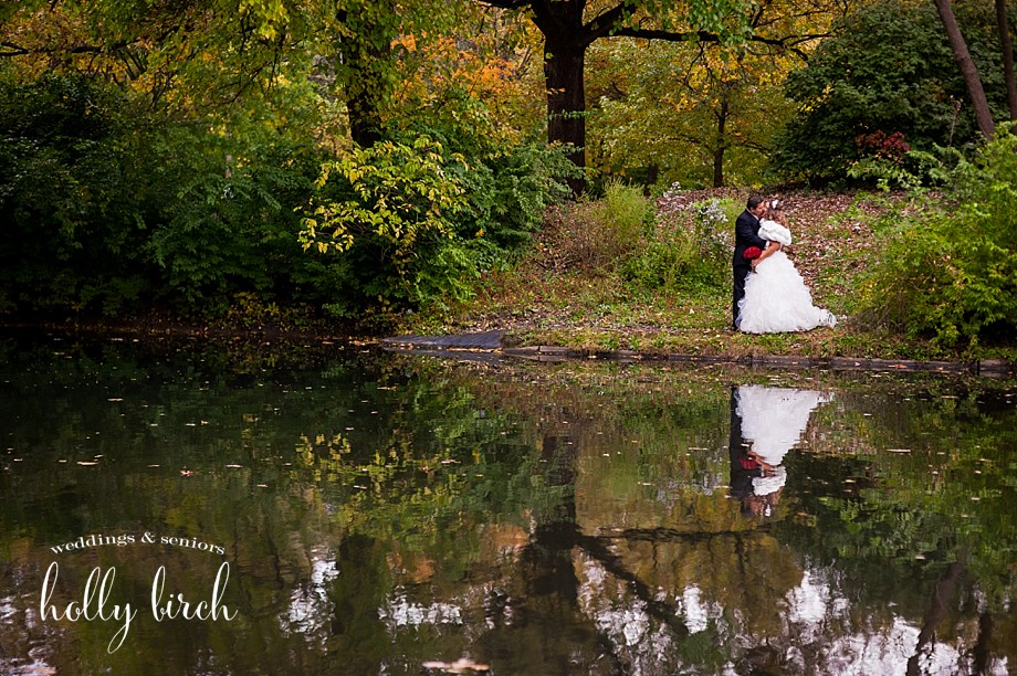 Crystal Lake Park reflection wedding photo