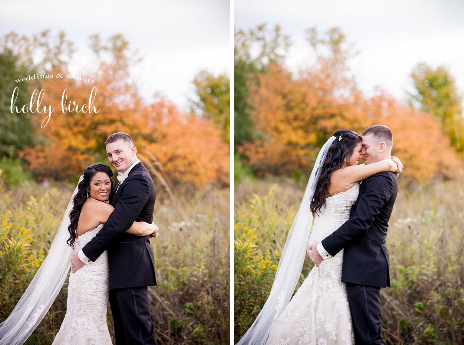 fall bride and groom portraits