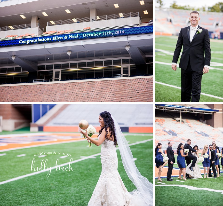 Memorial Stadium football field wedding pictures