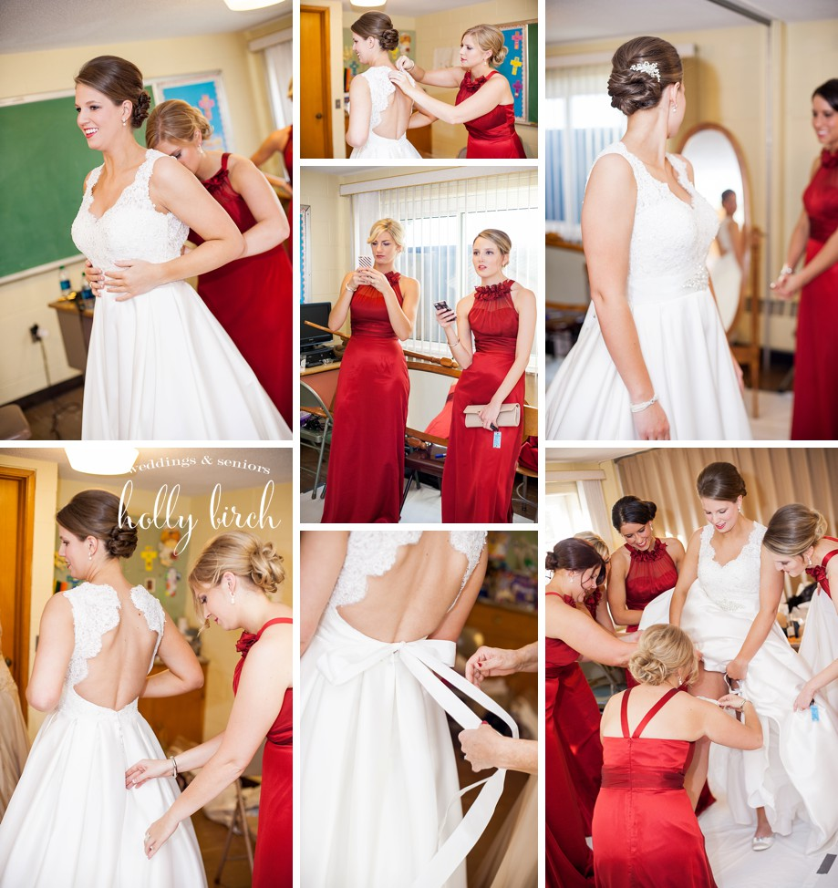 bridesmaid red dresses getting ready