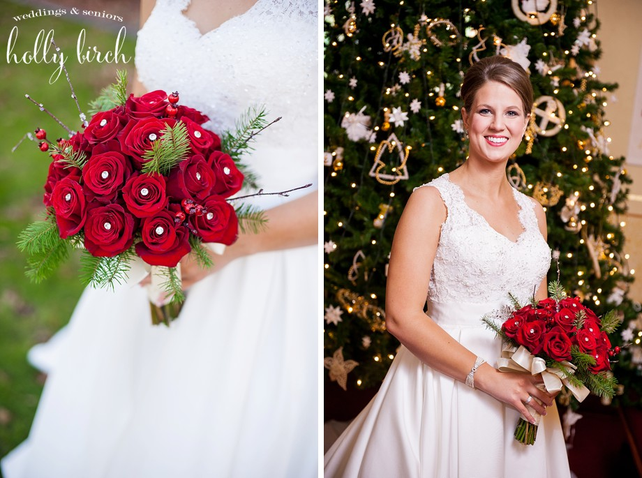 red bouquet portraits