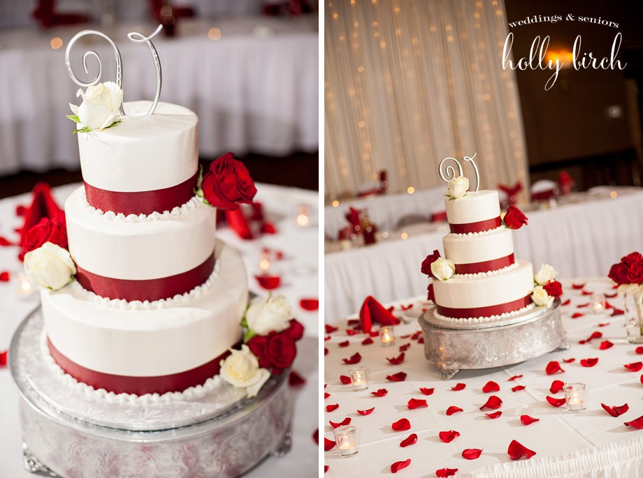 red and white cake by Jorie