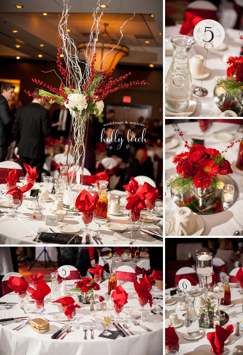 red and white reception details Ba Da Bloom