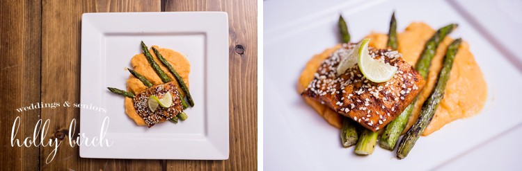 salmon with asparagus and sweet potato puree