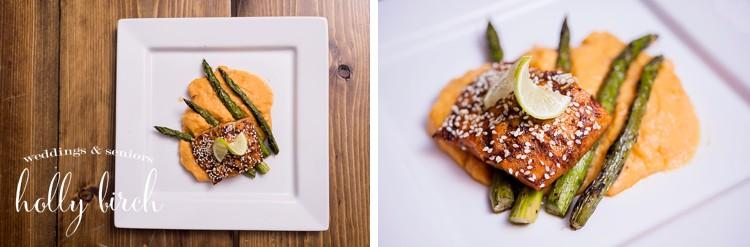 salmon with asparagus and sweet potato puree