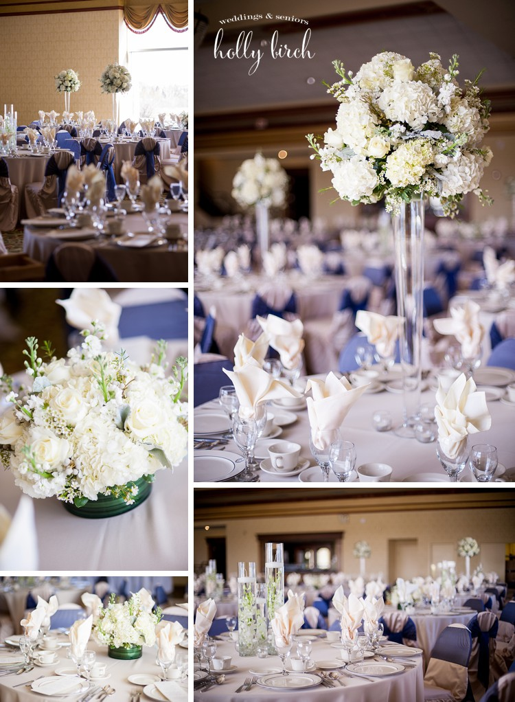 white navy champagne wedding decor