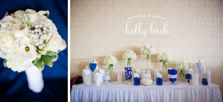 white blue candy bar bouquet