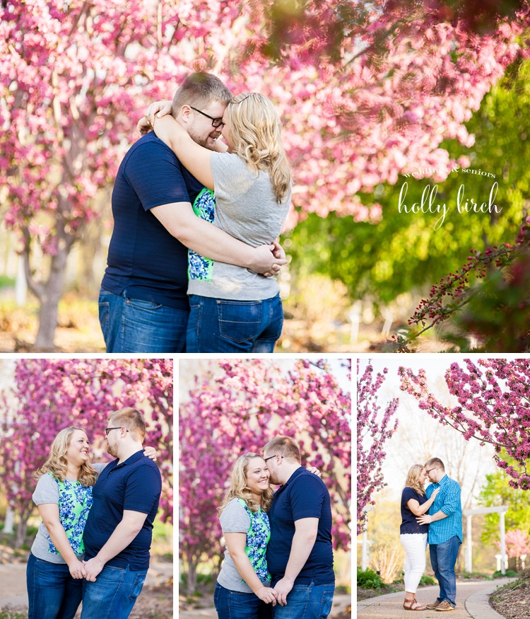 spring blooming trees engagement session