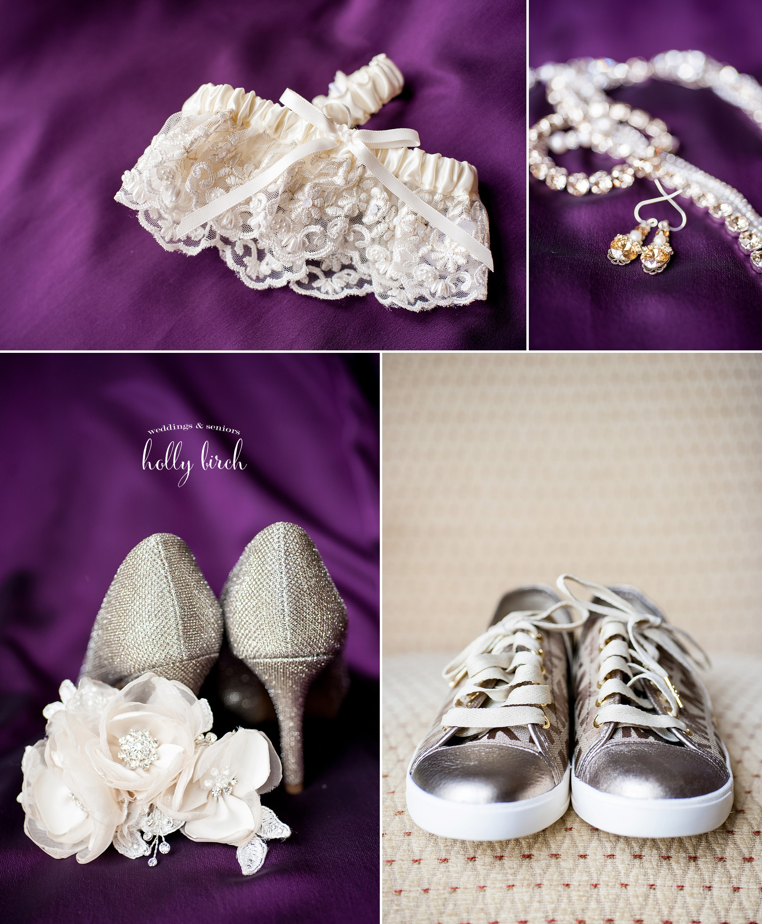 purple ivory wedding details