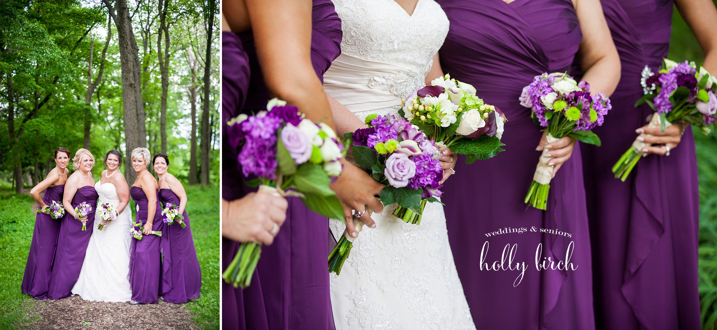 purple white green bouquets