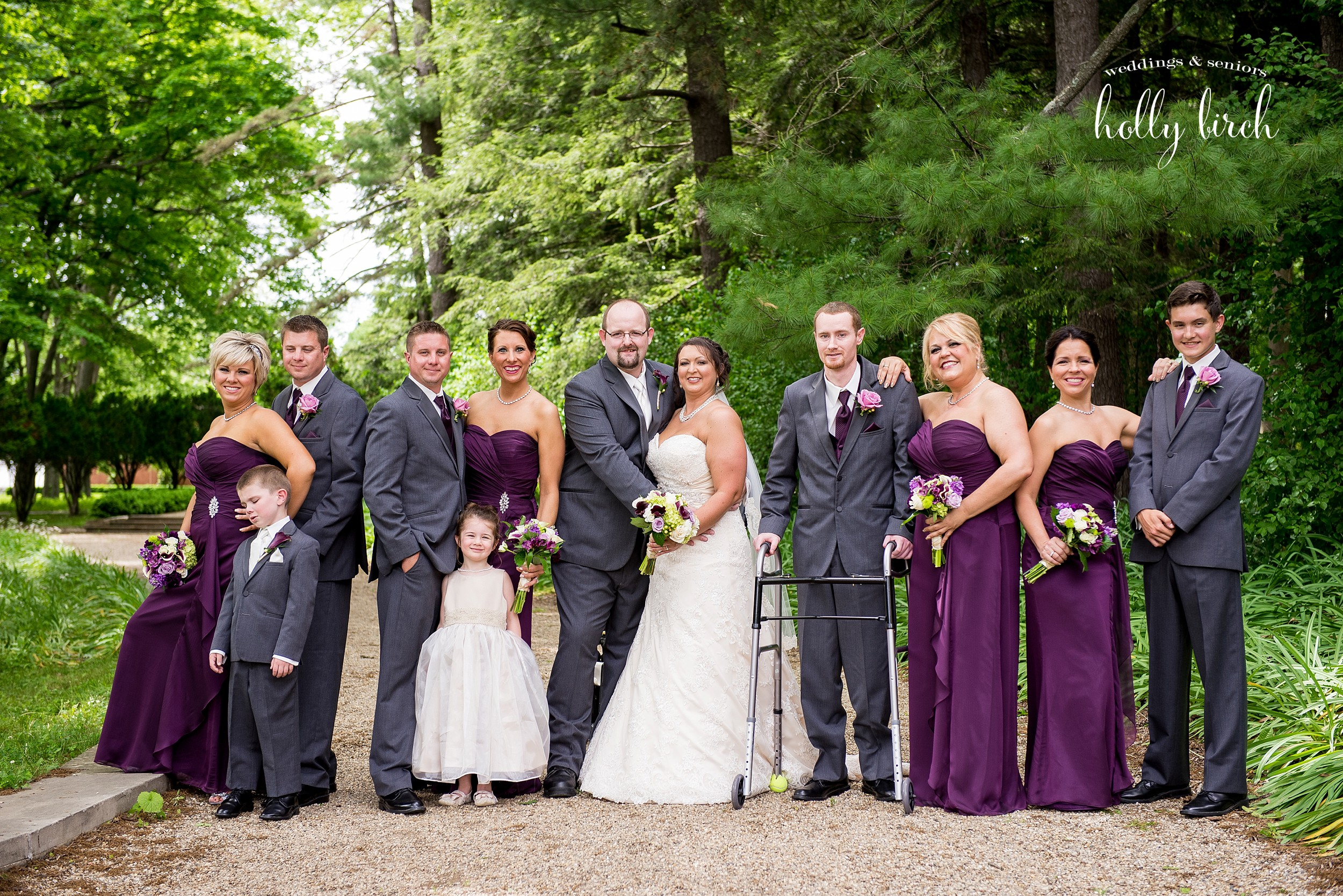 purple ivory gray wedding party