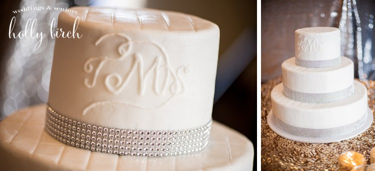 white bling wedding cake