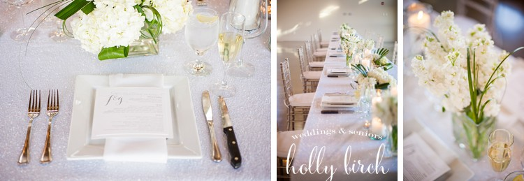 white sequin tablecloth place setting
