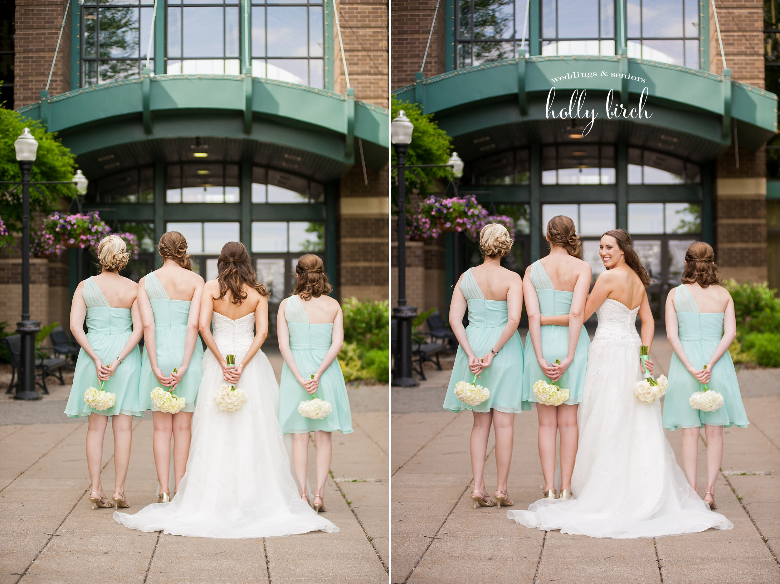 mint bridesmaid dresses with white bouquets