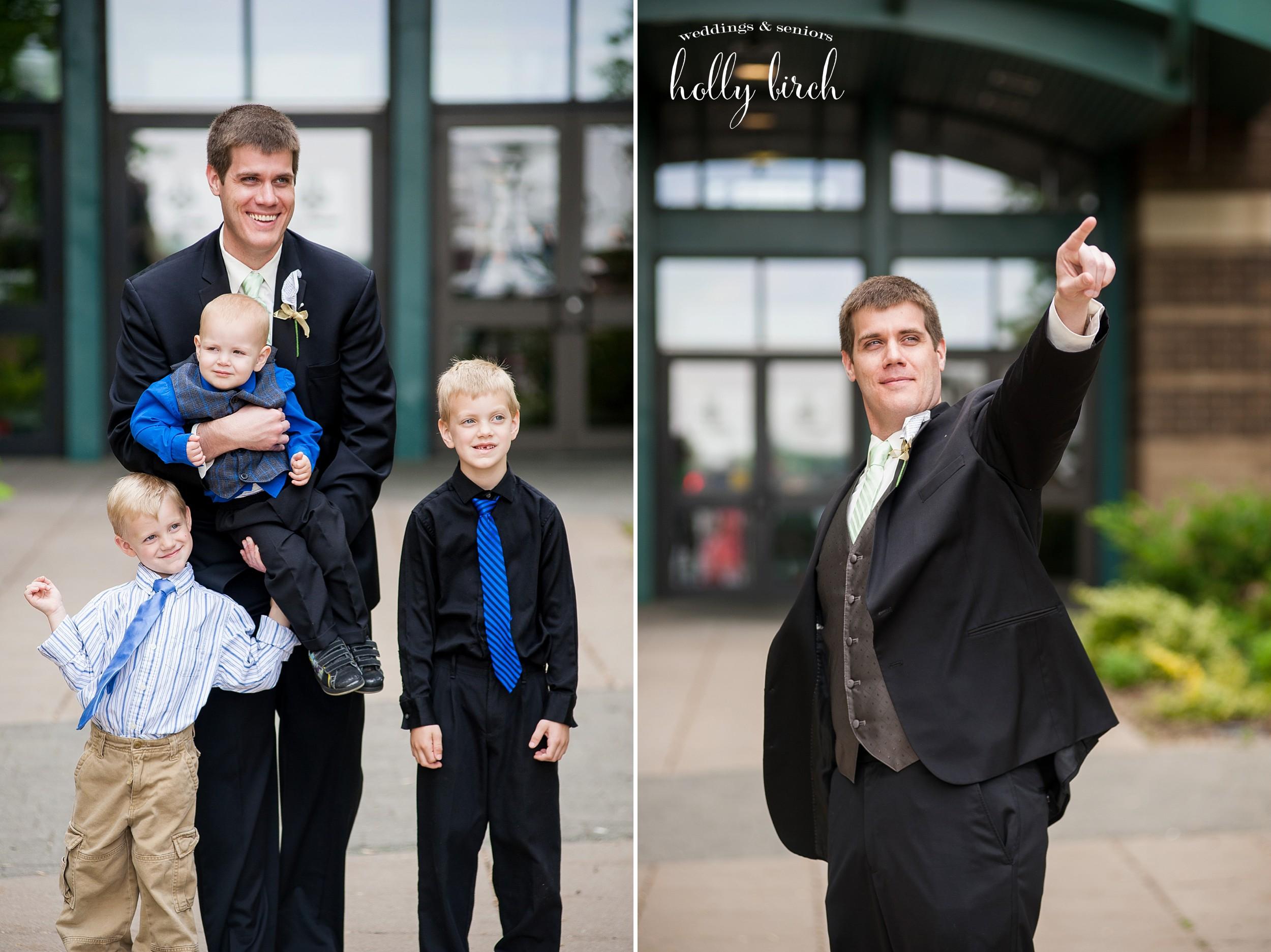 groom superhero pose and with nephews