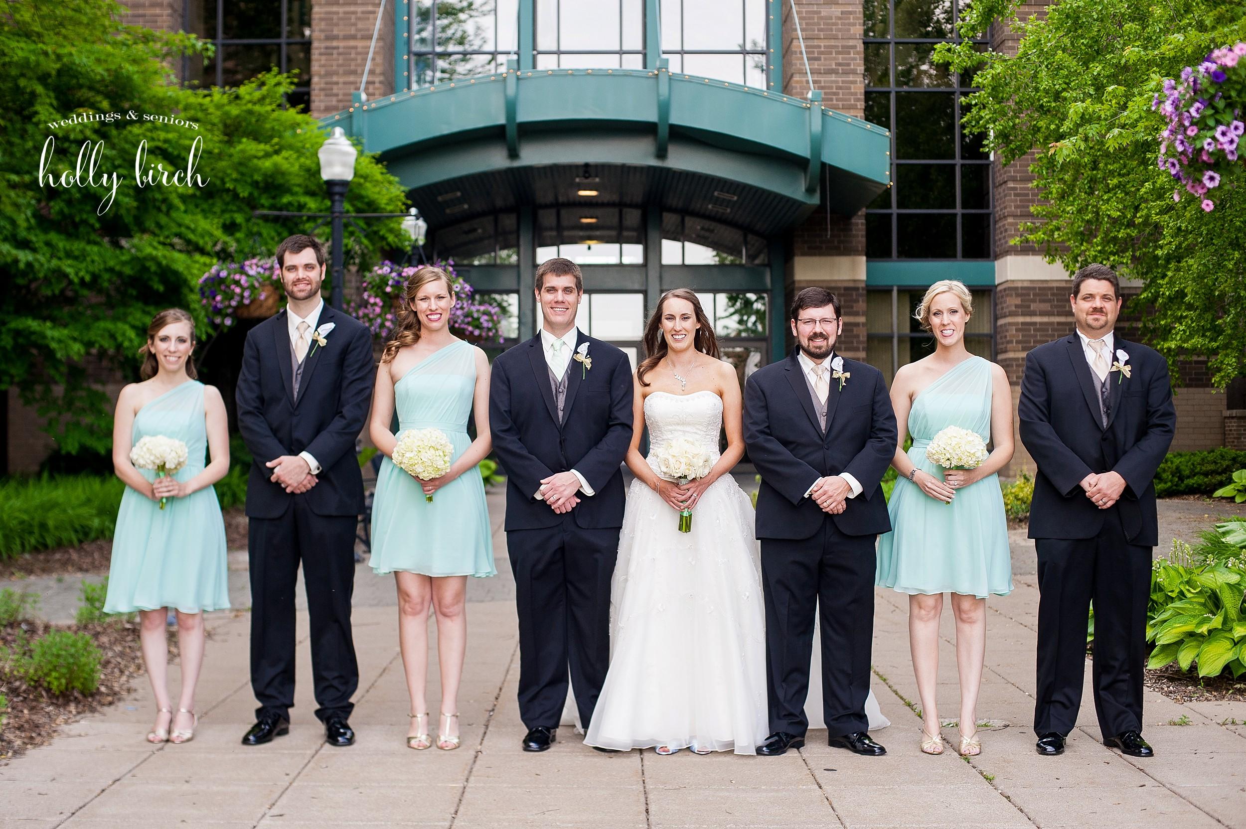 mint white black wedding party