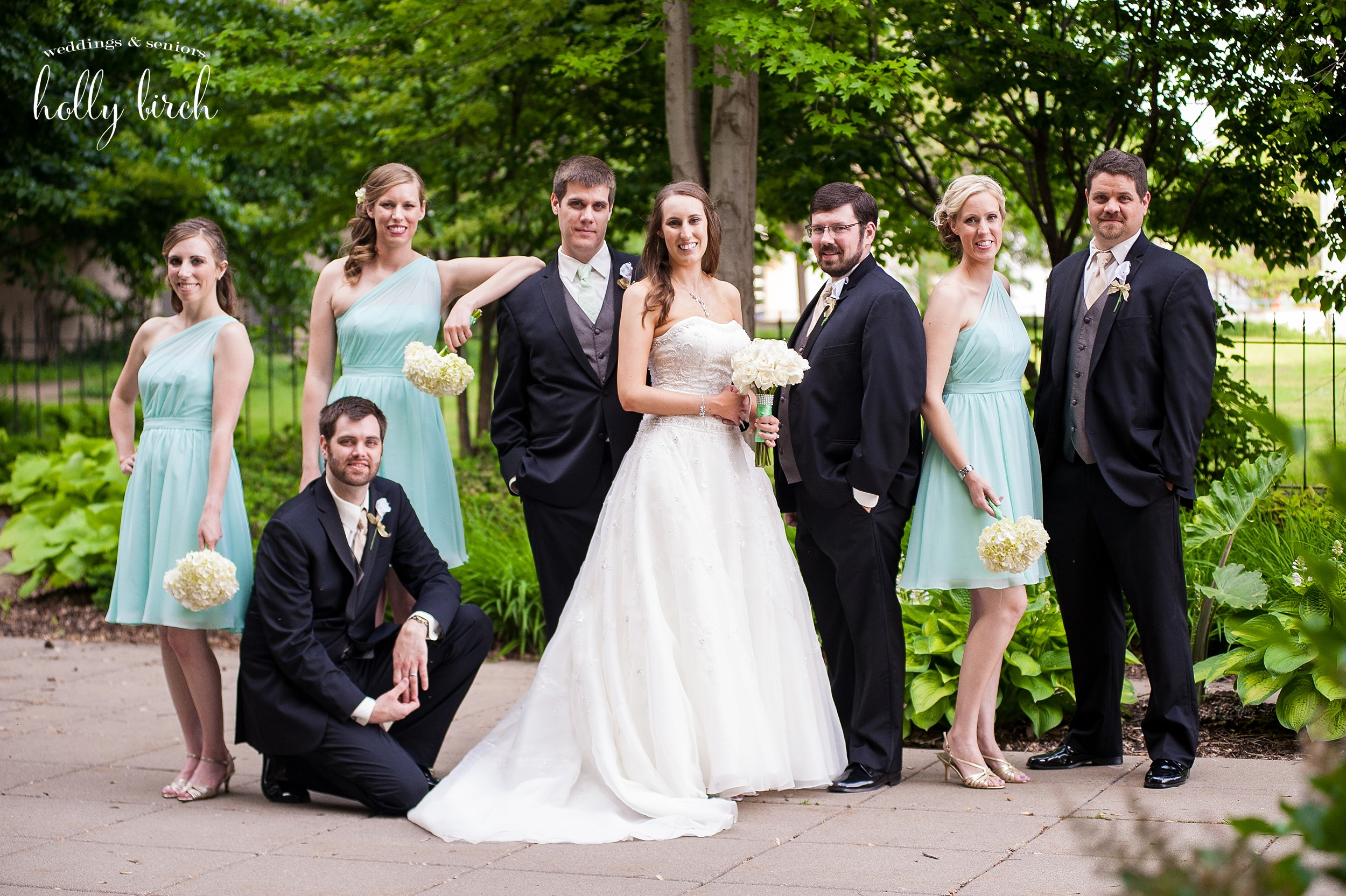 casual mint wedding party picture