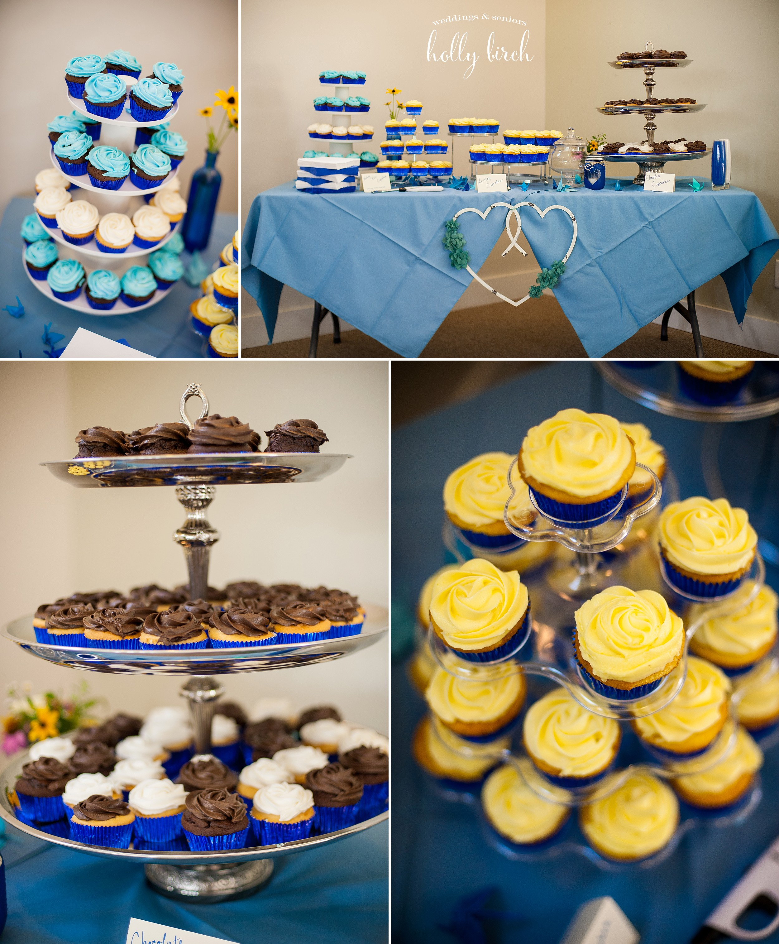 cupcake table in blue and yellow
