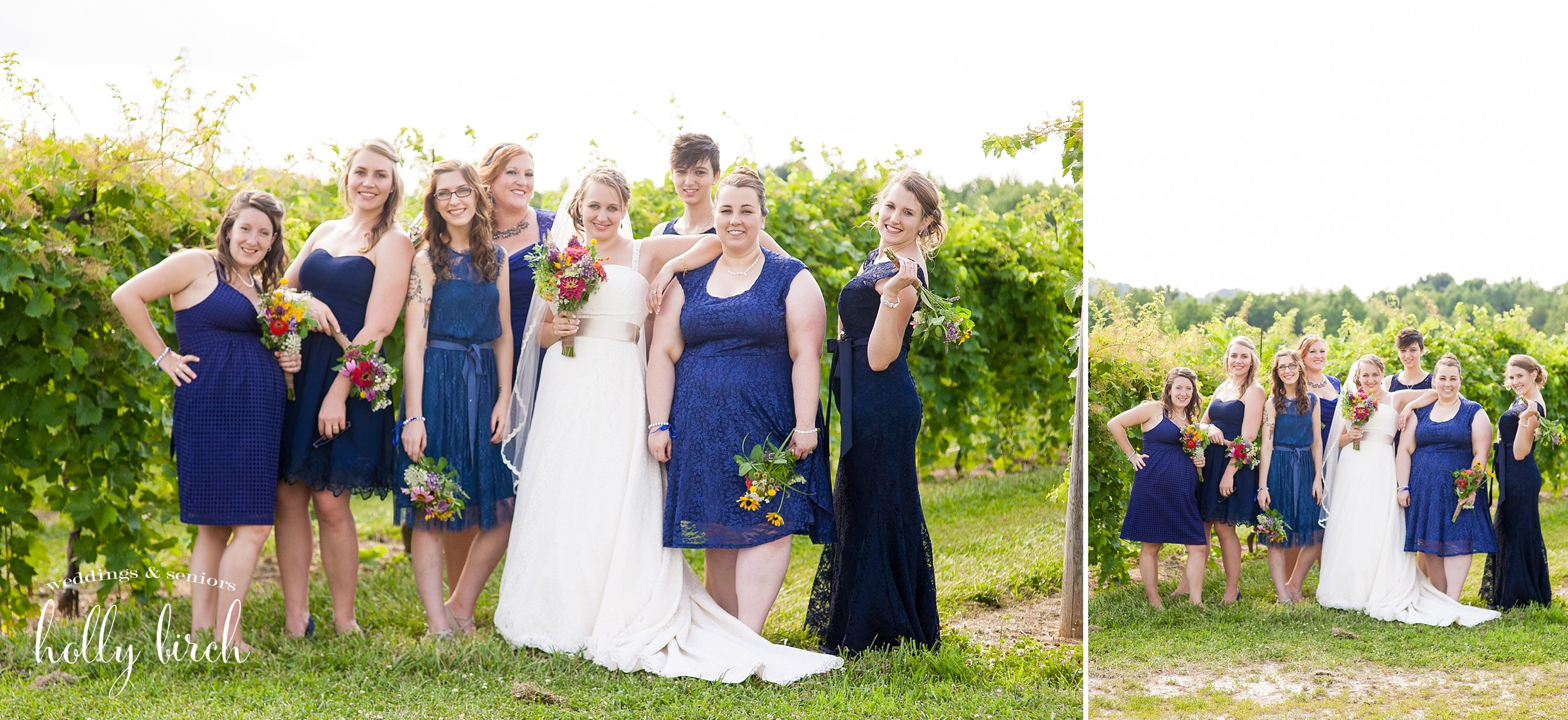 various blue bridemaid dresses