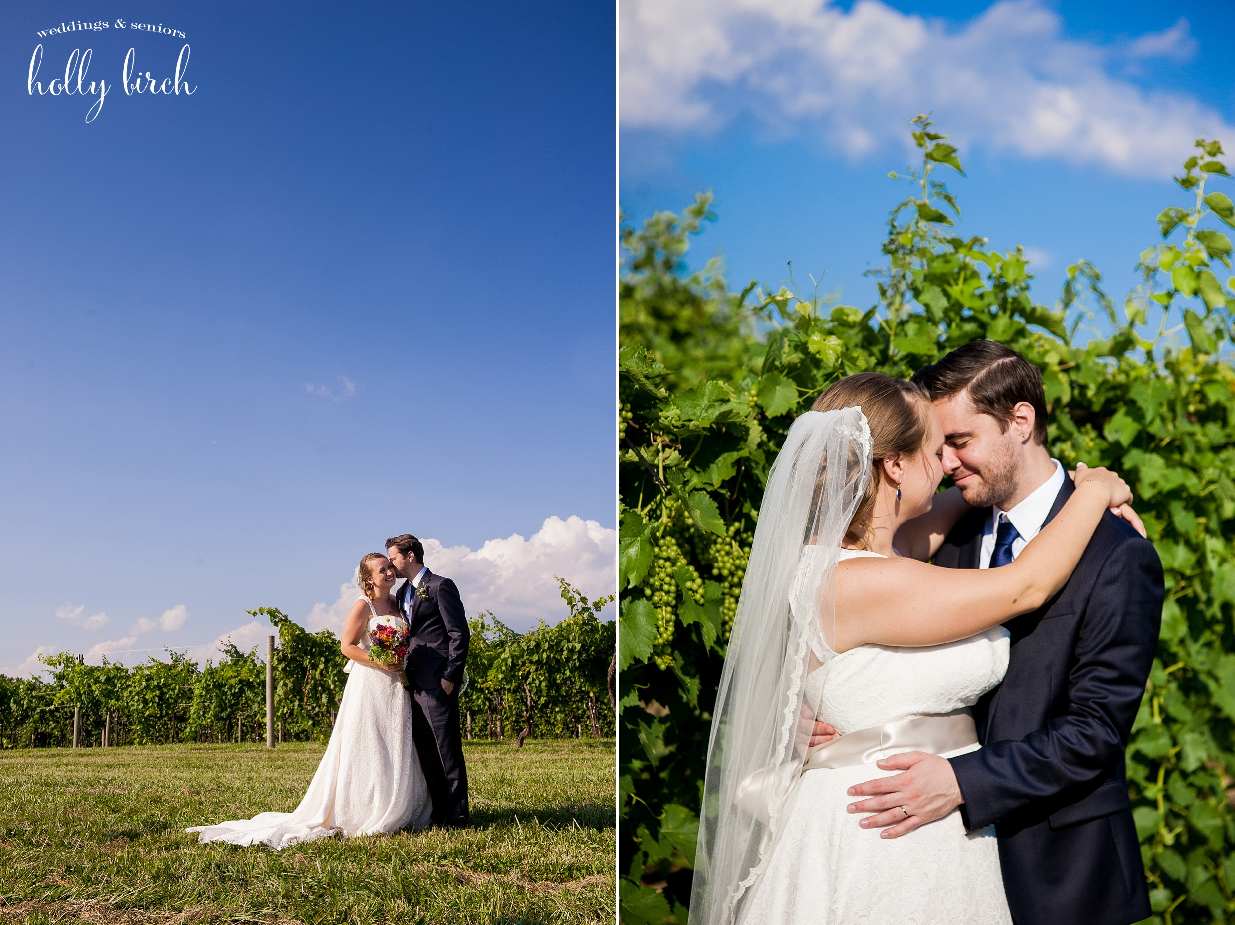 bride and groom in full sun with vines