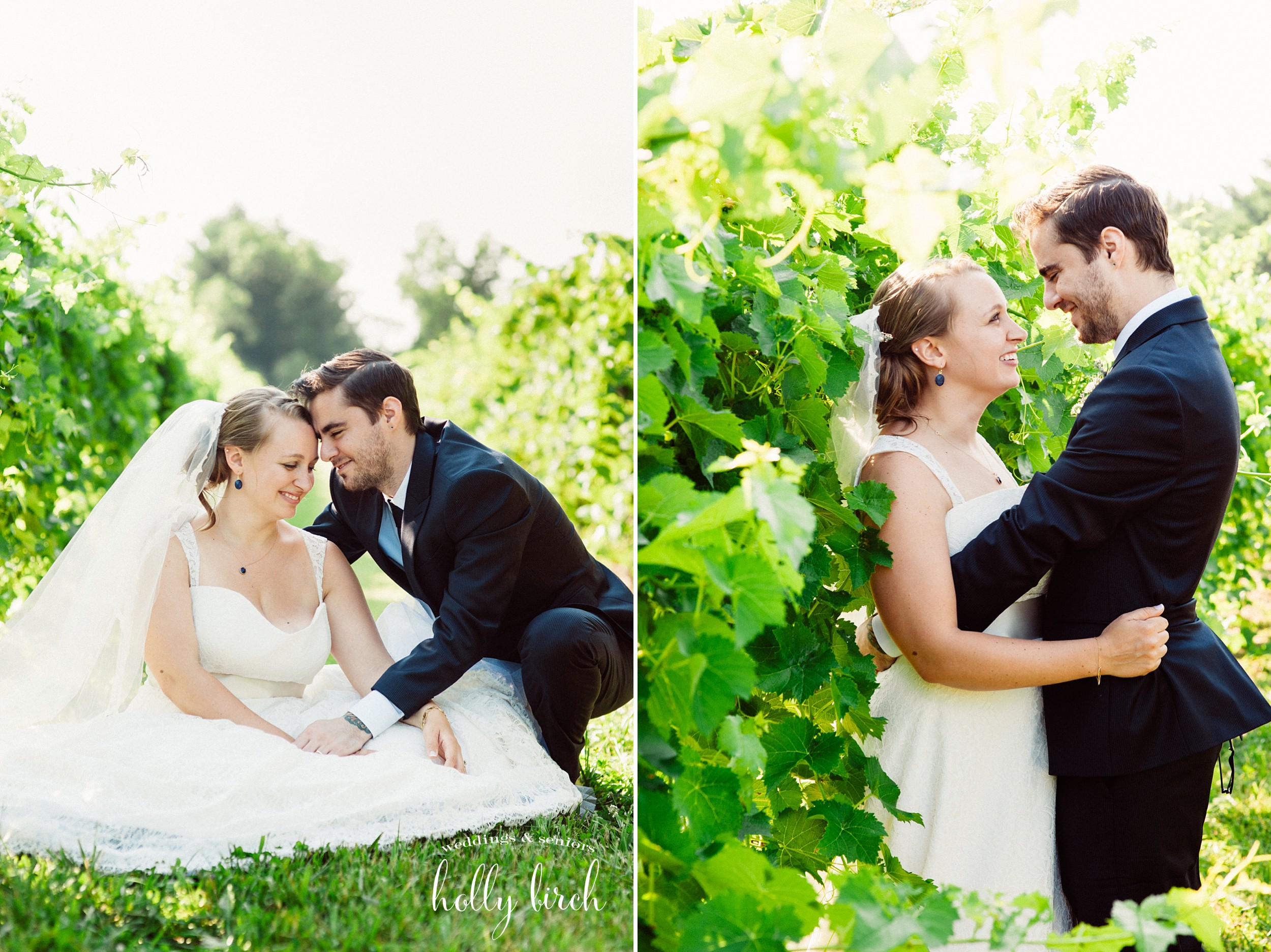 bride and groom vineyard portraits