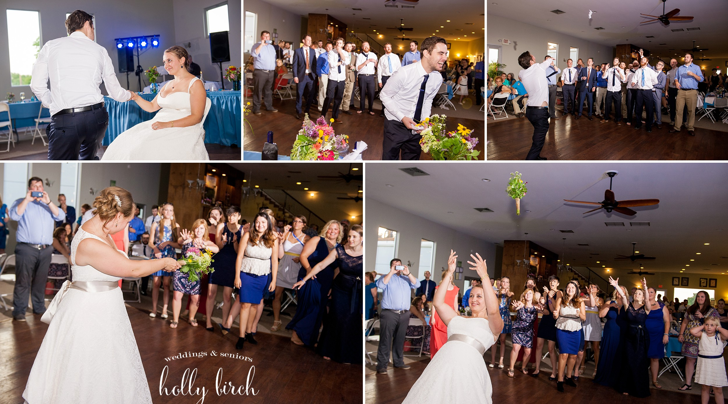 garter and bouquet toss