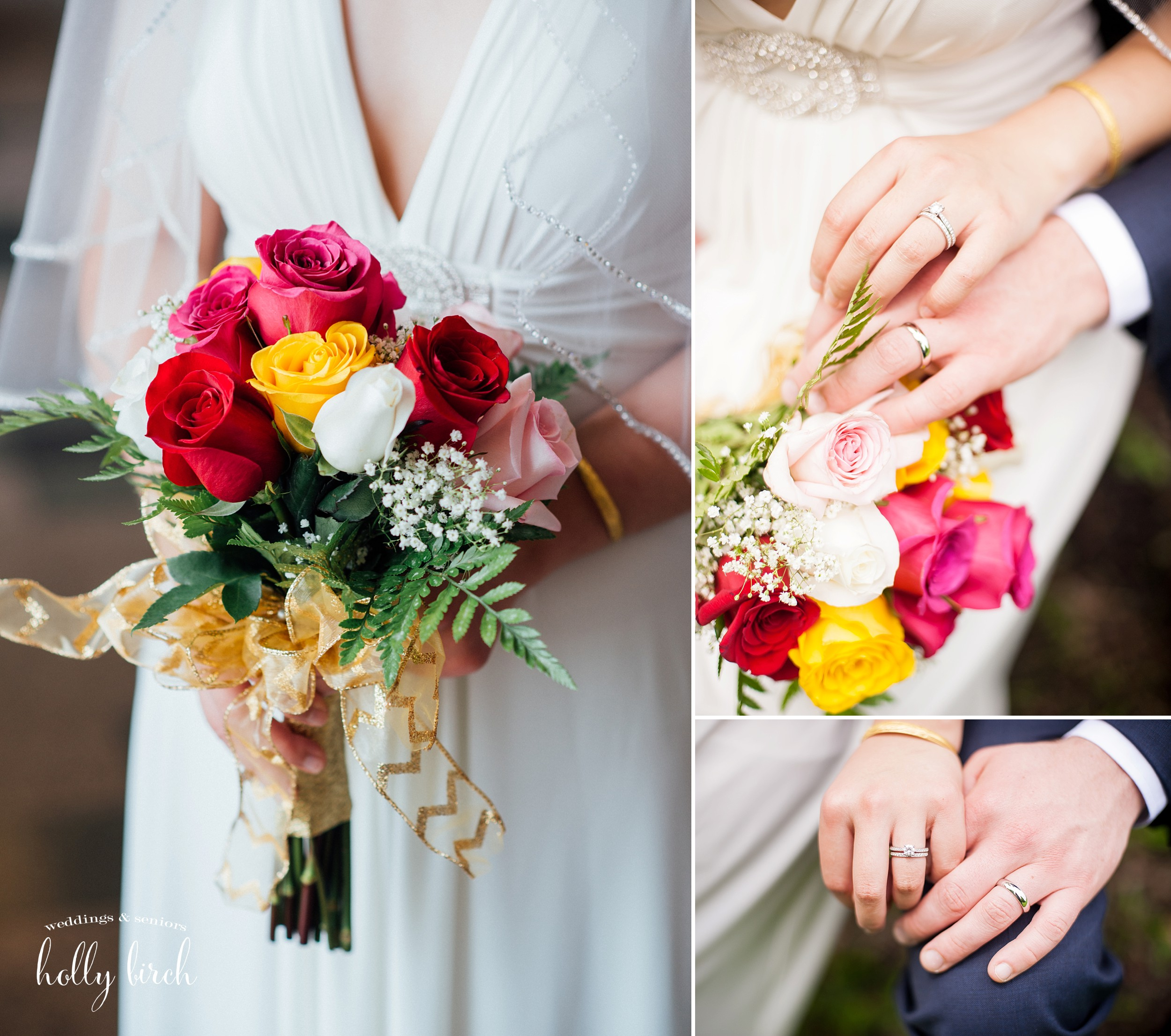 colorful bouquet and rings