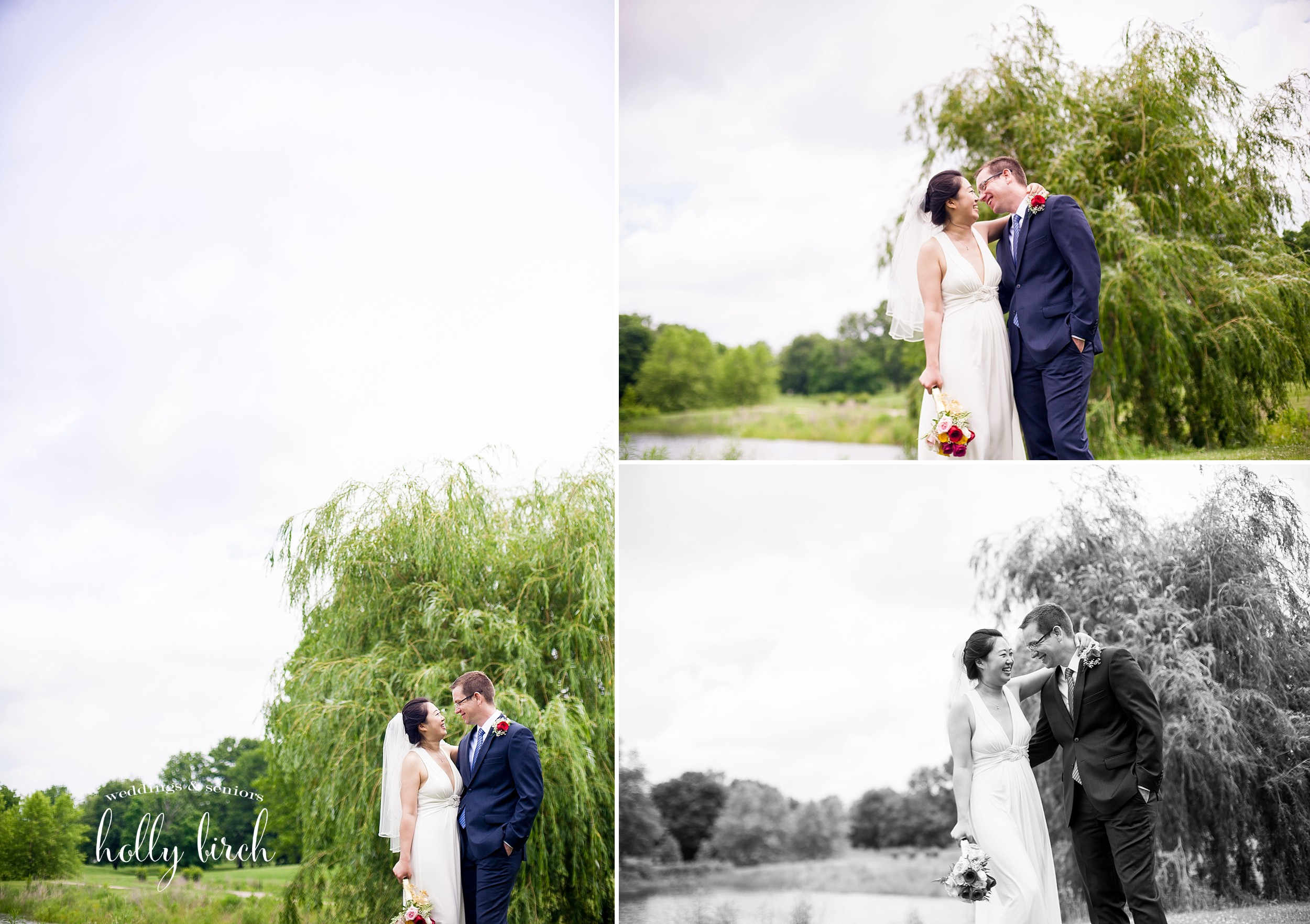 Weeping willow wedding portraits